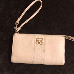 Leather white Coach wristlet
